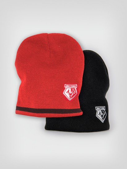 REVERSIBLE BEANIE HAT BLACK/RED