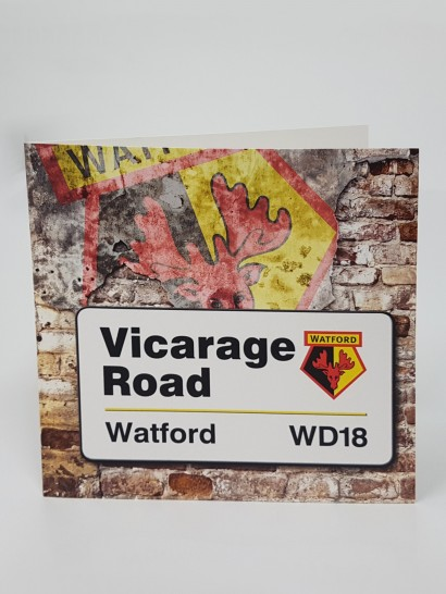 VICARAGE ROAD SIGN CARD