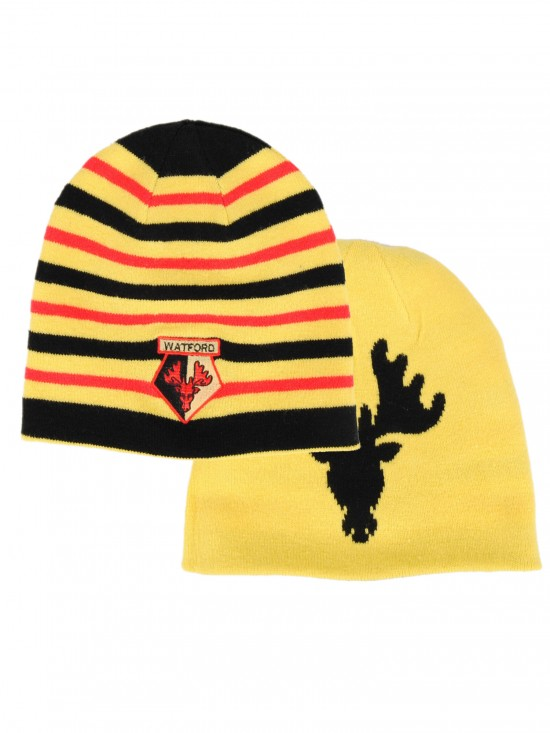 REVERSIBLE STRIPE HART BEANIE HAT