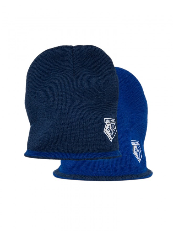 REVERSIBLE BEANIE HAT NAVY/BLUE