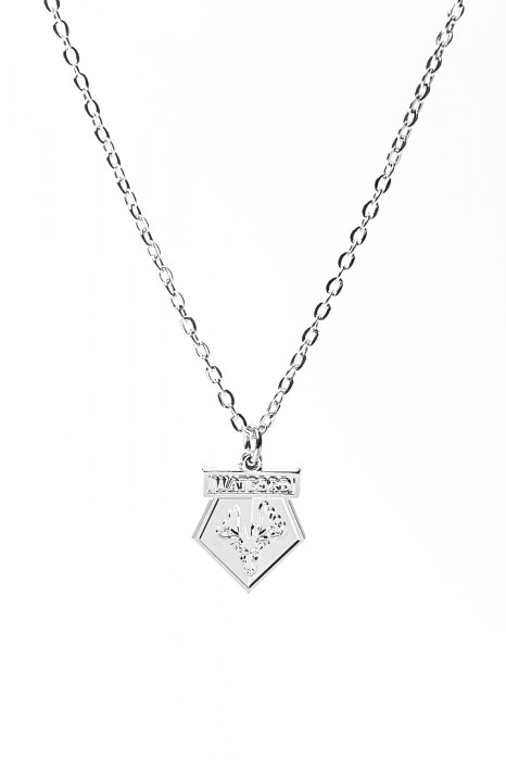SILVER PLATED CREST PENDANT AND CHAIN