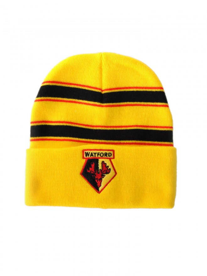 KNITTED STRIPE YELLOW HAT