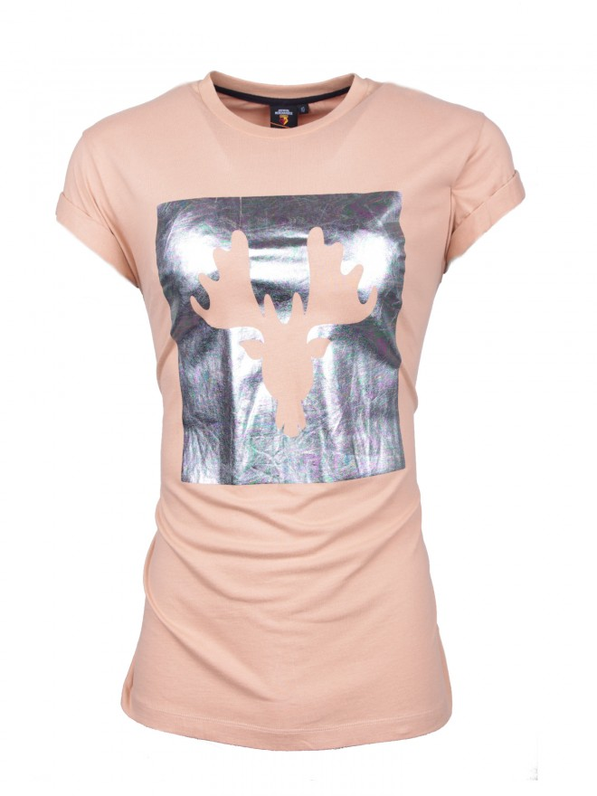LADIES ROLLED SLEEVE TEE